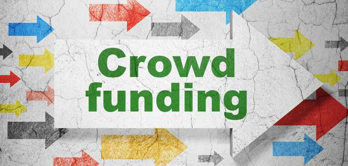Business concept: arrow with Crowd Funding on grunge wall background