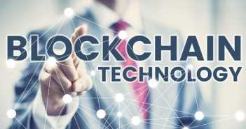 Blockchain technology concept, business man in suit selecting network interface.