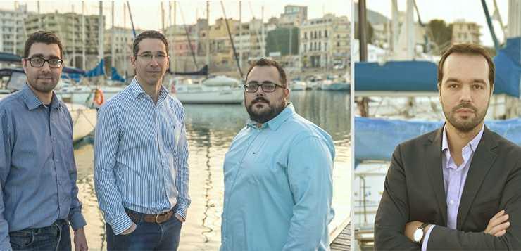 Η ομάδα OpenIchnos, από αριστερά προς τα δεξιά εμφανίζονται οι: Μανώλης Φραντζολάκης, Θεμιστοκλής Κουτσουράς, Χρήστος Ξανθός, Γιώργος Κούτρας