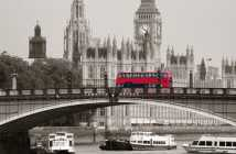 Big Ben, House of Parliament and Lambeth Bridge with red bus in London.