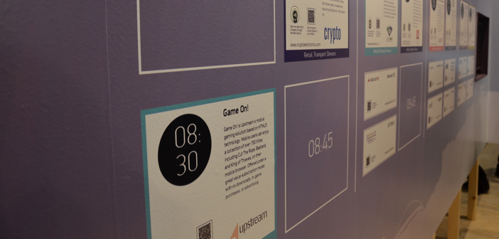 Ο ειδικός τοίχος με τις εταιρείες που συμμετέχουν στην αποστολή προσφέρει άμεση πρόσβαση σε πληροφορίες και πολυμεσικό περιεχόμενο μέσω QR και NFC.