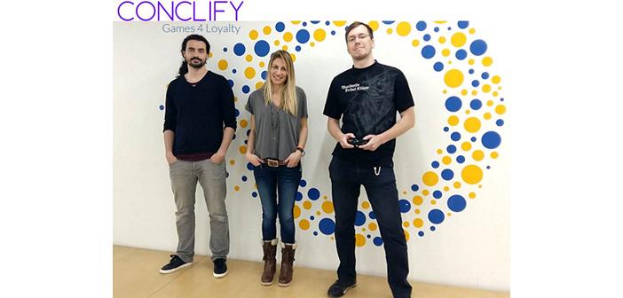 H ομάδα conclify, από αριστερά προς τα δεξιά: Θάνος Νικολόπουλος, Lead Game Programmer, Γιώτα Μπουμπουρέκα Γιώτα, CEO & Founder και Νίκος Λάριν, CTO lead game developer