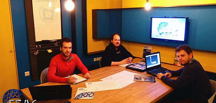 Η ομάδα FEAC Engineering, από αριστερά προς τα δεξιά: Χαρίλαος Κόκκινος, CTO/Co-Founder/Mechanical Engineer M.Sc, Σωτήρης Κόκκινος, CEO & Business Development/Co- Founder/Electrical Engineer M.Sc., Κωνσταντίνος Λουκάς, Senior Mechanical Engineer M.Sc.